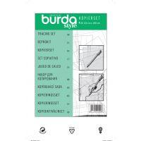 Set folii tipare din plastic pentru copiere, trasare cu stilou inclus, 4 coli (122x100 cm) Burda Style