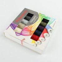 Set ata de cusut, Ackermann, 12 papiote multicolor- 100% poliester, 120 Universal, 200 m/papiota