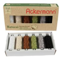 Set ata de cusut Ackerman, 6 culori, 100% bumbac, 500m/papiota