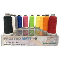 Set ata de brodat Madeira, Frosteed Matt, 10 culori, 100% poliester, 1000m/ papiota